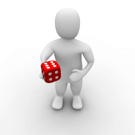 Man giving red dice with six on top. 3d rendered illustration. illustration