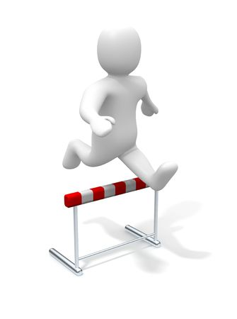 obstruction: Man jumping over the hurdle. 3d rendered illustration. Stock Photo