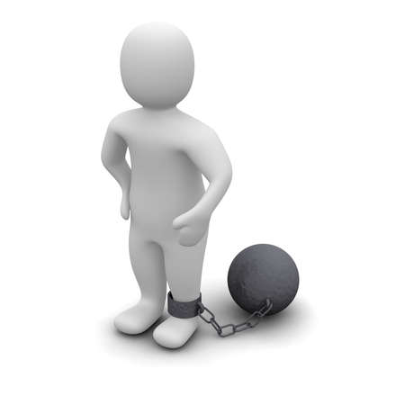 guilt: Criminal with ball. 3d rendered illustration isolated on white. Stock Photo