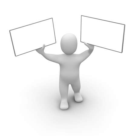 introduce: Man with two boards. 3d rendered illustration.