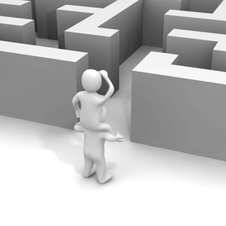finding: Finding path through labyrinth. 3d rendered illustration. Stock Photo