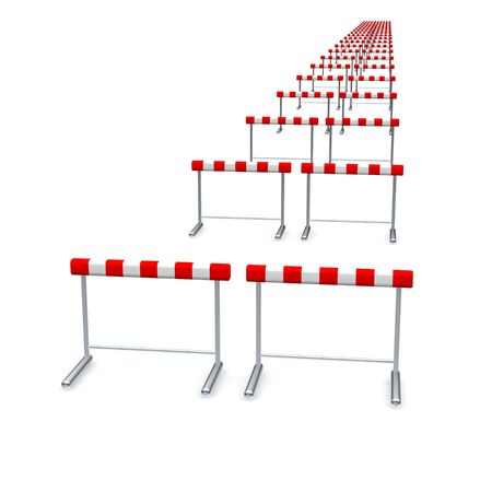 Hurdles in row. 3d rendered illustration isolated on white.
