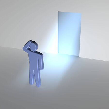 contemplating: Man thinking about entrance to unknown. 3d rendered illustration. Stock Photo