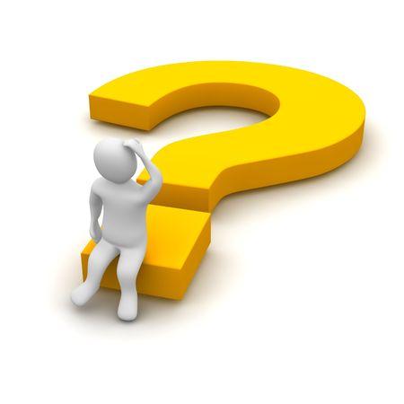 query: Denken man en vraagteken. 3d teruggegeven illustratie.