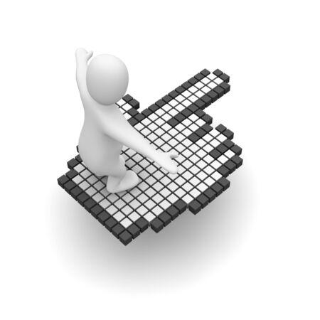 Man flying on computer mouse cursor. 3d rendered illustration. Stock Illustration - 4916849