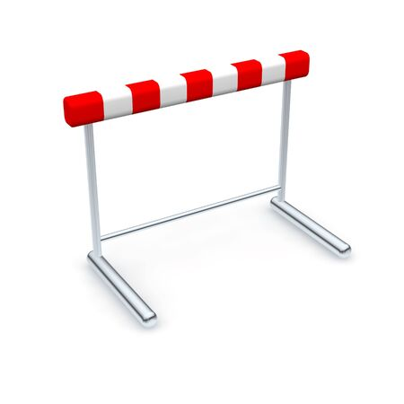obstruction: Hurdle. 3d rendered illustration isolated on white. Stock Photo