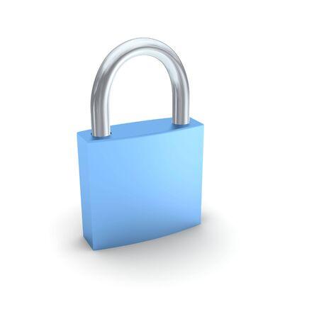 Blue padlock isolated on white. 3d rendered illustration. Stock Illustration - 4916844