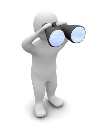 観察: 双眼鏡で見ている男。3 d レンダリングされたイラスト。