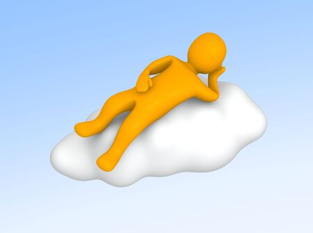 Man lying on cloud in the sky. 3d rendered illustration. illustration
