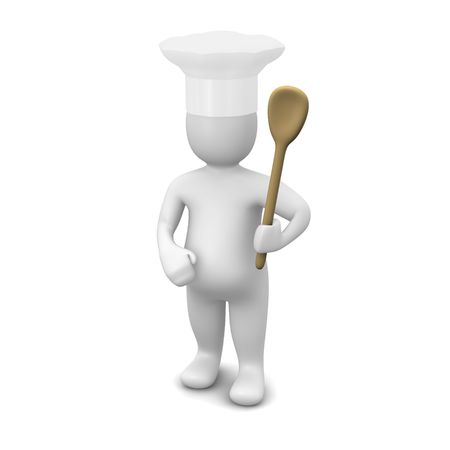 rendered: Cook with spoon. 3d rendered illustration isolated on white.