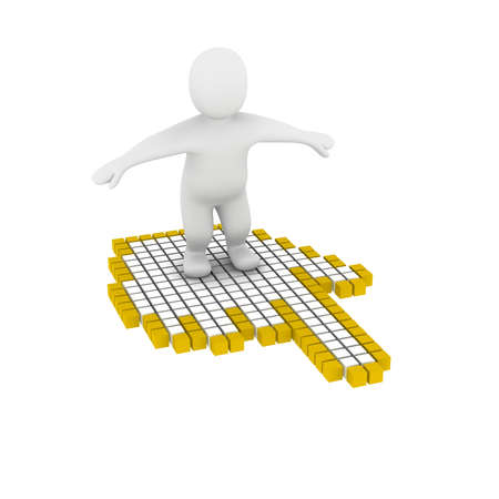 Man flying on computer mouse cursor. 3d rendered illustration. illustration