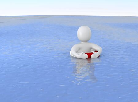 hopeless: Man with life ring in ocean. 3d rendered illustration.