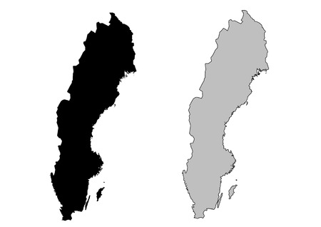 mercator: Sweden map. Black and white. Mercator projection.