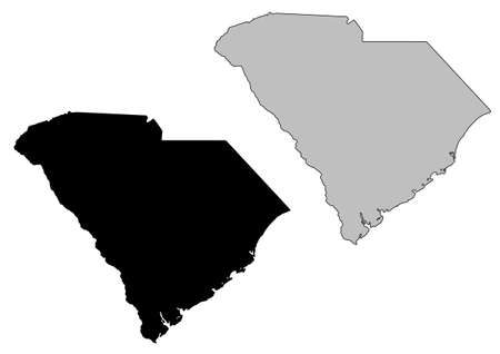 South Carolina map. Black and white. Mercator projection. Vector