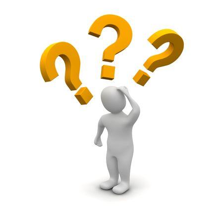 혼란스러운: Thinking man and question marks. 3d rendered illustration. 스톡 사진