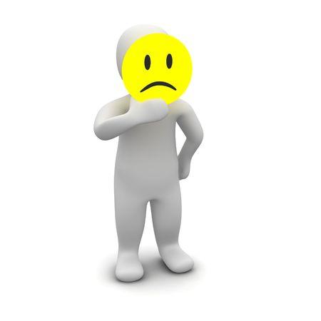 smutny mężczyzna: Człowiek z smutne maski. 3d świadczonych ilustracji.