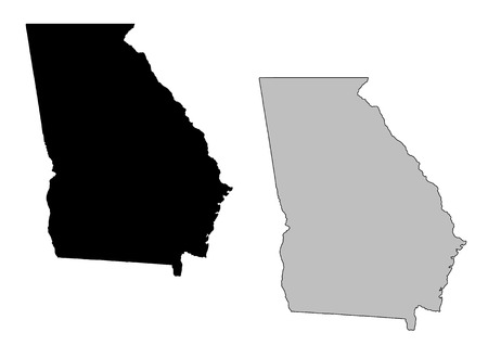state: Georgia map. Black and white. Mercator projection.