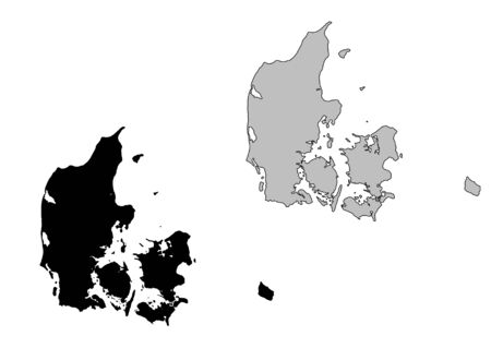 Denmark map. Black and white. Mercator projection. Illustration