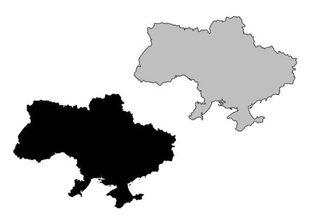 Ukraine map. Black and white. Mercator projection. Vector