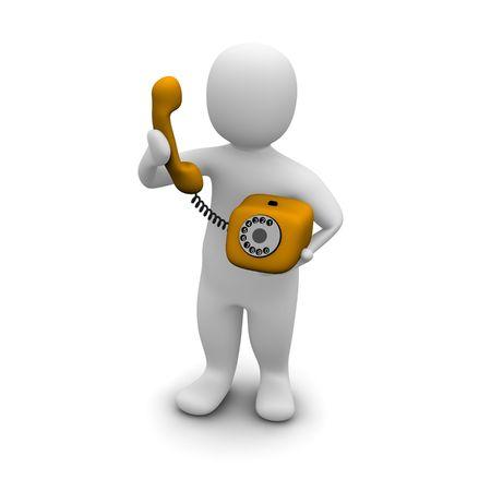 telefono caricatura: Hombre recogiendo naranja tel�fono. 3d prestados ilustraci�n. Foto de archivo