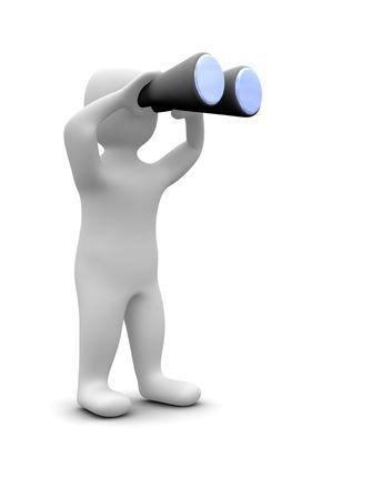 look at: Man looking through binoculars. 3d rendered illustration.