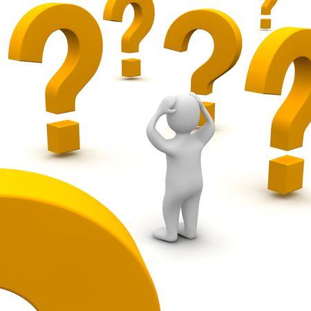 혼란스러운: Confused man and question marks. 3d rendered illustration.