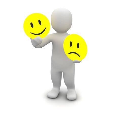 las emociones: Hombre con emociones s�mbolos. 3d prestados ilustraci�n.