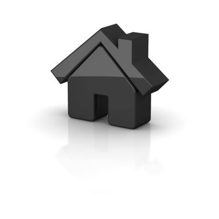 Shiny black house icon. 3d rendered illustration. Stock Illustration - 5070744