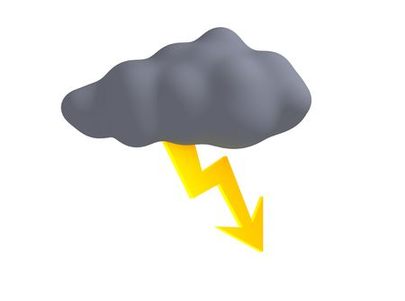 lightnings: Storm cloud with thunderbolt isolated on white. 3d rendered illustration. Stock Photo