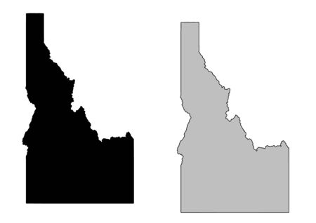 Idaho map. Black and white. Mercator projection. Vector
