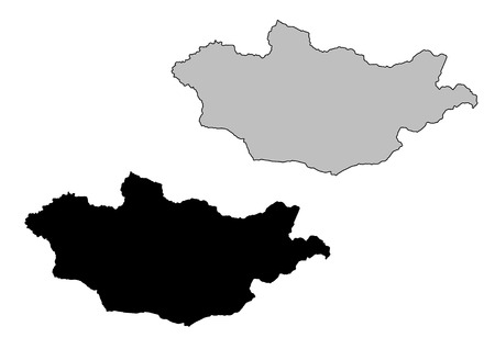 mongolia: Mongolia map. Black and white. Mercator projection.