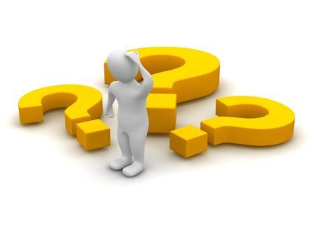 Thinking man and question marks. 3d rendered illustration. Stock Illustration - 5109909