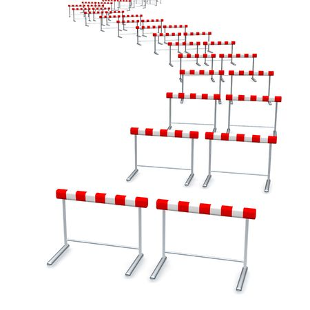 Hurdles track. 3d rendered illustration isolated on white. Stock Photo