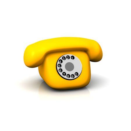 telefono caricatura: Naranja retro tel�fono. 3d prestados ilustraci�n aisladas sobre fondo blanco. Foto de archivo