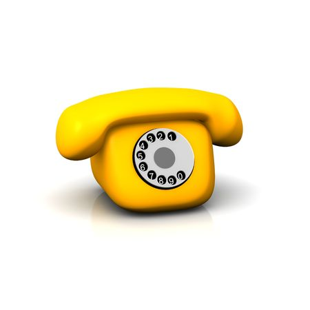 phone icon: Orange retro phone. 3d rendered illustration isolated on white.