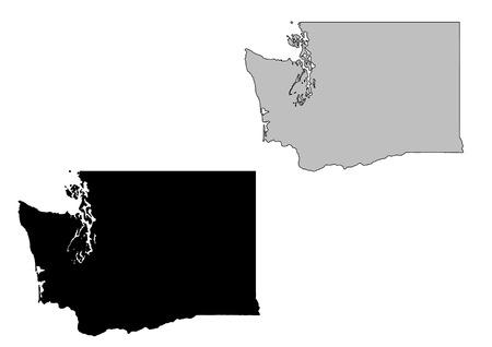 Washington map. Black and white. Mercator projection. Stock Vector - 5109943
