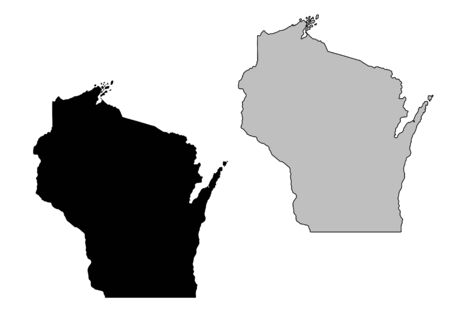 united state: Wisconsin map. Black and white. Mercator projection.