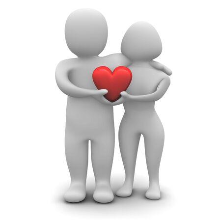 declaracion de amor: Joven en el amor. 3d prestados ilustraci�n aisladas sobre fondo blanco.