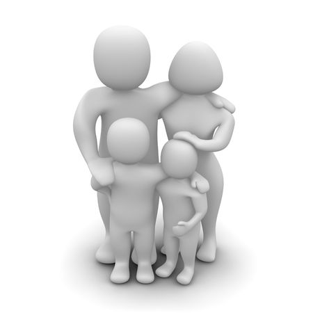 male figure: Happy family. 3d rendered illustration isolated on white.