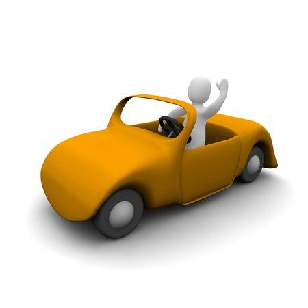 autom�vil caricatura: Hombre feliz en coche descapotable. 3d illustration prestados. Foto de archivo