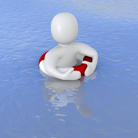 Man with life ring in ocean. 3d rendered illustration. illustration