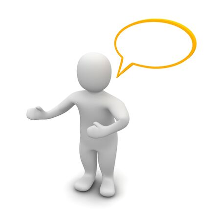 rendered: Man with empty speech bubble. 3d rendered illustration.