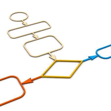 mapa de procesos: Diagrama esquem�tico. 3d illustration prestados aislados en blanco.