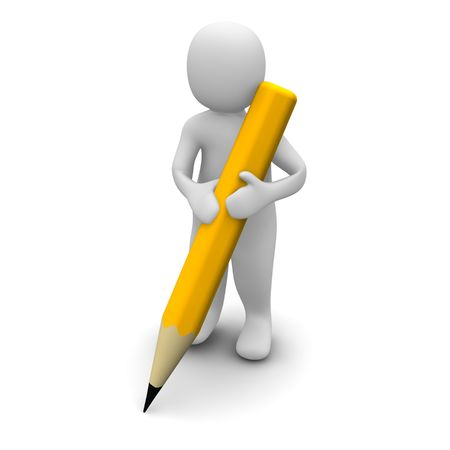Man holding pencil. 3d rendered illustration.