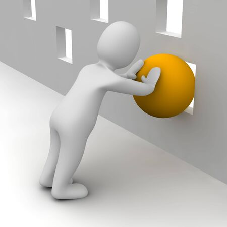 window hole: Man trying push orange ball through small hole. 3d rendered illustration. Stock Photo