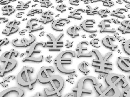 currency symbols: Black and white financial symbols background. 3d rendered illustration