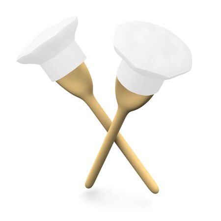 wooden hat: Two spoons with caps. 3d rendered illustration.