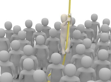 huir: Escapar de la multitud. Ilustraci�n procesada 3D.