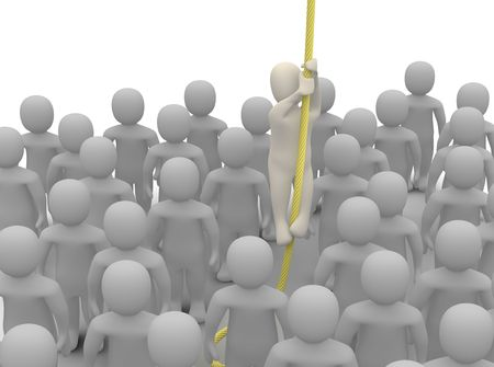 escaping: Escaping from crowd. 3d rendered illustration. Stock Photo