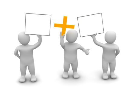puppet show: Three men holding up two signs and plus symbol. 3d rendered illustration.